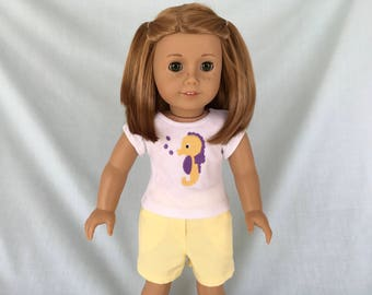 Seahorse T-Shirt and Yellow Shorts for American Girl/18 Inch Doll