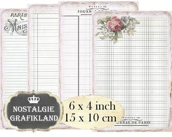 French Ledger Writing Paper Ephemera Vintage Papers Shabby Chic 6 x 4 inch Instant Download digital collage sheet D211