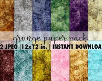 Seamless grunge pattern set, 12x12 digital paper pack, grungy scrapbook paper, grunge vintage backgrounds, grunge seamless textures