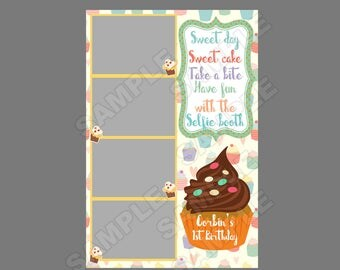 50% off,photo booth template,instant download,1st birthday,cupcake birthday,fun 1st birthday idea,kids birthday, cupcake party idea,