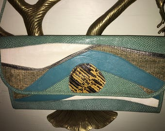 Carlos falachi skin patch 12 bag clutch