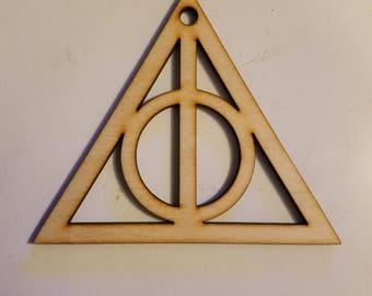 Lasercut Deathly Hallows Wooden Ornament