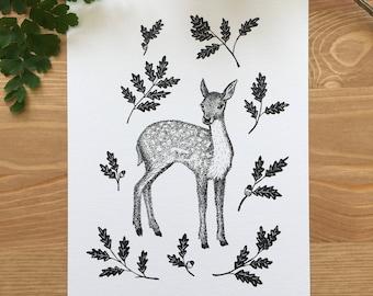 Fawn & Oak Original Pen and Ink Art Print - Deer Print - Fawn Print - Nature Print - Wildlife Art
