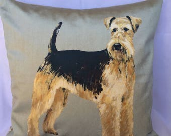 Airedale Terrier print velvet cushion cover, Terrier print pillow sham, pillow case