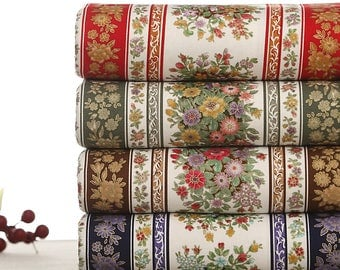 120 cm / 47 inch Width, Vintage Style Flower Floral Cotton Fabric, Half Yard