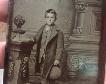 Photograph ~  Old Tin type ~ Young Boy In Old Mans Cloths! ~ Had To Grow Up Fast