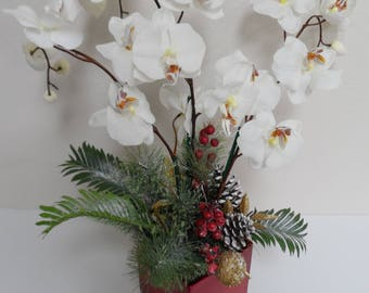 Elegant arrangement etsy Christmas orchid arrangements