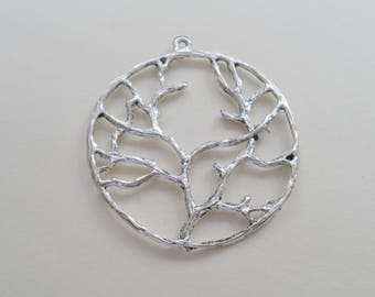 Large Tree Charms, Jewelry Charms, Tree of Life Charms, Metal Charms 39mm, Jewelry Supplies, 8 QTY
