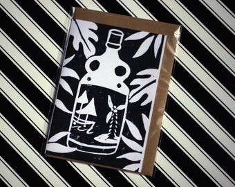Rum - Original Linoprint Greeting Card - Blank with Vegan Envelope - 100% Recycled Paper and Plastic Free Packaging