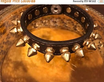 SUMMER  CLEARANCE SALE Vintage Chocolate Spiked Leather Bracelet