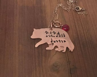 Mama Bear and cub handstamped necklace copper necklace/ Personalized cub mama bear