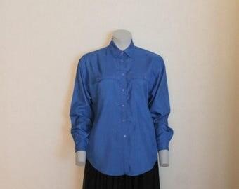 ON SALE Vintage Royal Blue Cobalt Shirt Button up 1980s  Party Blouse Gorgeous Top Long Sleeves Medium Size