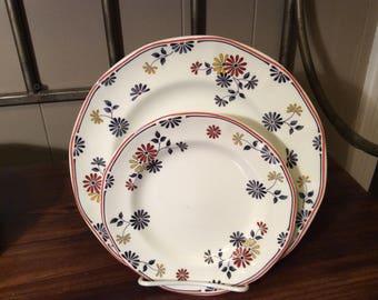 17 Pieces Adams English Ironstone Vermont Pattern~Vintage Dinner Plates~Vintage Salad Plates~Adams Ironstone