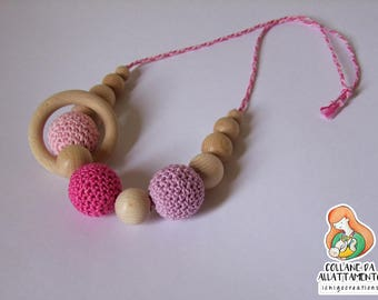 Necklace for breastfeeding in wood and cotton Fuchsia pink lilac
