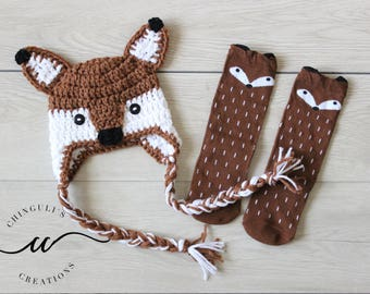 Baby Fox Hat and Fox Socks Crochet Fox Hat and Socks Set Fox Brown Baby Fox and Brown Baby Fox Socks