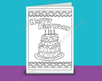Happy Birthday Colour Yourself Birthday Card A4 folded to A5 Files supplied to download & ready for you to Print Fun Kids Card idea