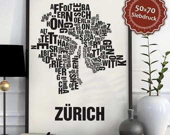 Zürich Typographic Map Screen Print