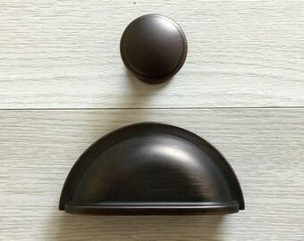 "3"" Cup Dresser Pulls Drawer Pull Handles Bin Cabinet Door Handles Kitchen Handle Pull Oil Rubbed Bronze Hardware 76 mm ARoseRambling"