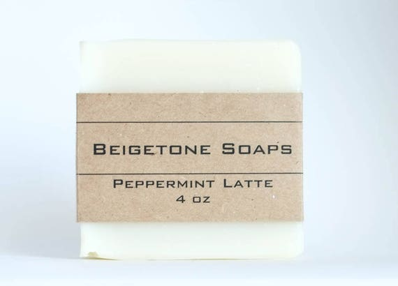 TOP SELLER | Peppermint Latte Soap Bar in Cream Colored Organza Bag | 4oz | Stimulating and Fresh!