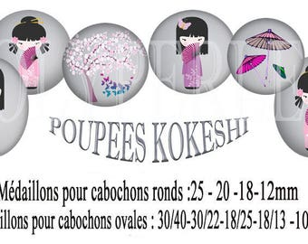 Images digital Kokeshi doll jewelry cabochons