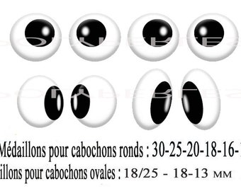 Collage digital round cabochons and oval eyes look