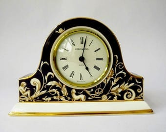 "Wedgwood Porcelain Clock ""Cornucopia Pattern""   We Do Combine Shipping"