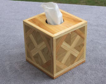 Tissue Box Cover - Handcrafted from Strips of Ash, Sassafras & Cherry for Kleenex® or Puffs® - Great for Home or Office