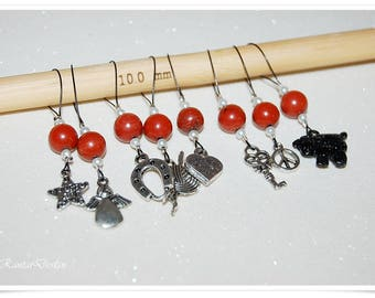Stitch Markers 8 Jasper Gemstone Charm Markers Knitting accessories marker for knitting stitch marker wire marker snagless marker