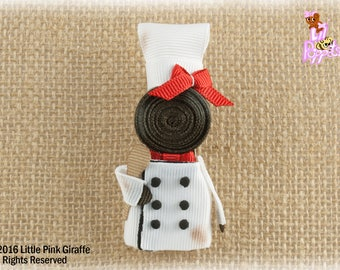 Lil' Poppet™ Chef, Ribbon Sculpture Hair Clip or Brooch Pin, Ragamuffin Evelyn