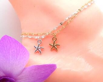 Starfish Anklet, Gold or Silver Starfish Ankle Bracelet, Beach Jewelry, Bridesmaid, Beach Wedding, Tropical, Beach, Dainty, Starfish, Pearl