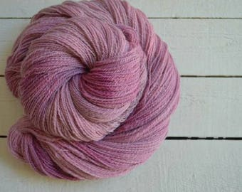 MI Cormo Mauve Worsted Weight Hand Dyed Hand Spun Yarn