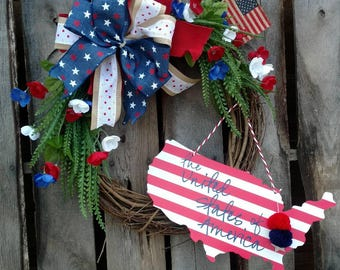 4th of July Patriotic Red White & Blue The United States of America Grapevine Wreath