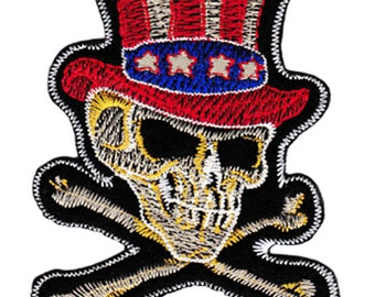 Large USA Tophat Skull Biker Patch 10cm Applique