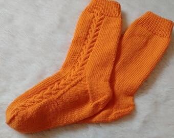 Sunny Orange Wool Socks