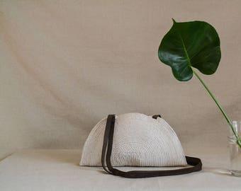 Summer handbag, Summer clutch, Beach handbag, Handwoven bag, Summer bag, Boho chic bag, Round bag, Leather handles bag, Trendy bag, Rope bag