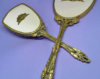 Vintage 1940s vanity hand set of mirror and brush, brass, satin