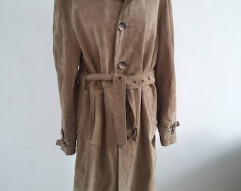 vintage fawn suede trench coat