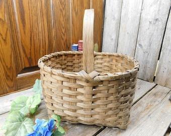 Antique Handmade Market Basket