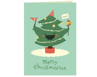 Set of Christmas  cards - Merry Christmastree - Holiday wishes - Funny holiday card - Seasons greetings