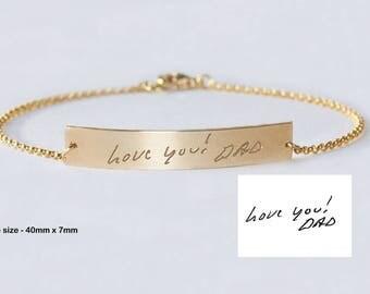 Actual Handwriting Jewelry, Custom Signature bracelet, Kids handwriting bracelet, Memorable, Kids names bracelet, Custom Nameplate Gold bar