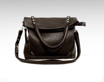 Leather bag foldover crossbody bag leather crossover purse leather tote zipper handbag leather satchel minimalict fold-over leather bag