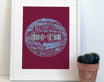 West Ham United Football Typography Poster Print