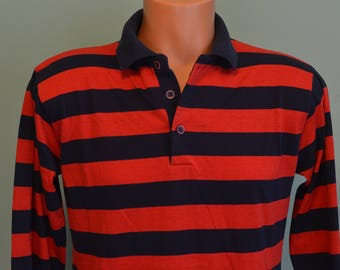 80s Campus Red/ Navy Striped Long Sleeve Large Rugby Polo