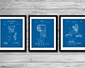 Bathroom Patent Posters Group of 3, Bathroom Wall Decor, Toilet Seat, Toilet Paper, Toilet Art, P524
