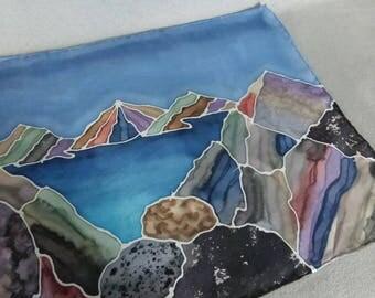 "Silk Scarf ""Sierra Landscape"", Hand Painted Silk Scarf, Brown and Blue Silk Scarf"