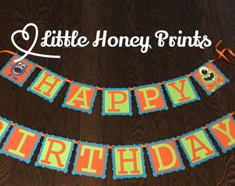 Little Monster Birthday Banner / Monster Banner/ Little Monster Birthday / Little Monster/Monster Birthday
