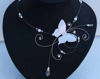 Bridal necklace, wedding, tie of silk and beads, Czech Crystal beads