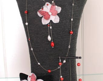 Bridal set wedding necklace + bracelet + earrings red and White Butterfly and flower customizable