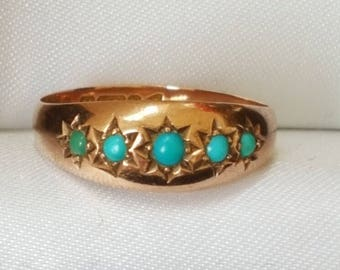 Victorian Rose Gold Gypsy Ring with Turquoise Cabochon Gemstones
