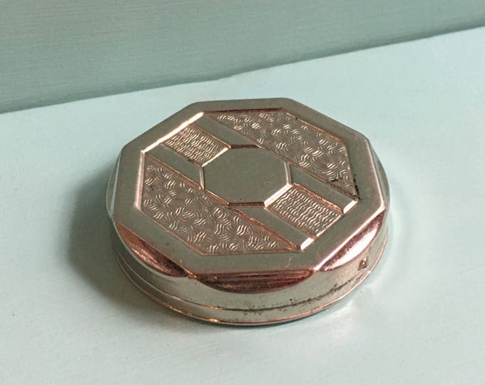 Featured listing image: Vintage 1930s - small round octagonal silver metal art deco style powder mirror compact